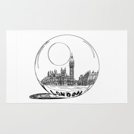 London in a glass ball . artwork Rug