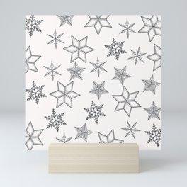 Grey Snowflakes On White Background Mini Art Print