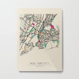 Colorful City Maps: New York City, USA Metal Print