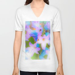Bouquet in Blue and Pink 3 - enhanced and in blue white and green actually Unisex V-Neck