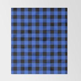 Royal Blue and Black Lumberjack Buffalo Plaid Fabric Throw Blanket
