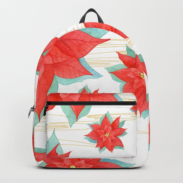 Red poinsettia #2 Backpack