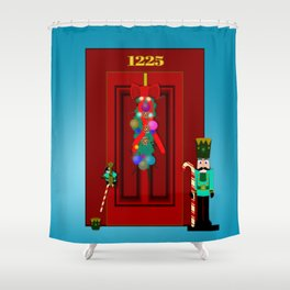 Holiday Guard Duty: Penquin Chick and Nutcracker Shower Curtain