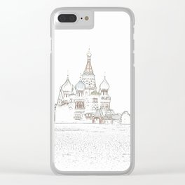 Saint Basil's Cathedral (on white) Clear iPhone Case