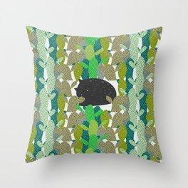 Sleepy cat in a cactus garden Throw Pillow