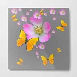 YELLOW BUTTERFLIES & PINK WILD ROSES Metal Print