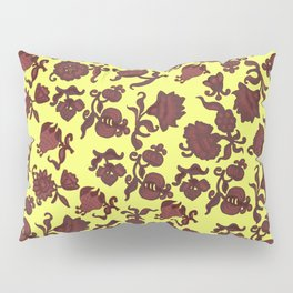 red flowers and leaves . art Pillow Sham