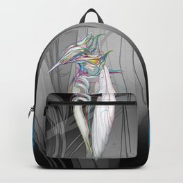 Kingfisher 1c. Color lines on white background-(Red eyes series) Backpack