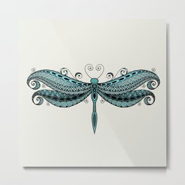 Dragonfly dreams turquoise Metal Print