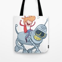 bender Tote Bags featuring Adventurama/Fry and Bender by Spencer Duffy