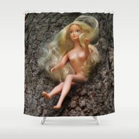 barbie Shower Curtains featuring barbie by art_by_a_rose