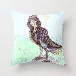 Gamayun bird Throw Pillow