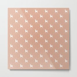 Deer pattern retro colors Christmas Day powder pink background Metal Print
