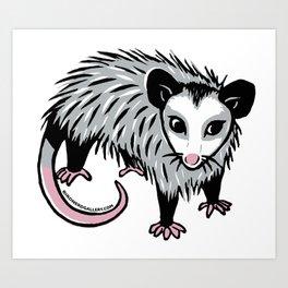 Baby Possum Linocut Art Print