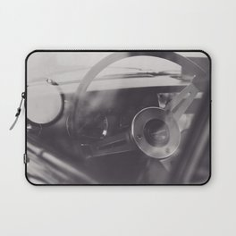Black & white macro photo of steering wheel from a british car. Classy fine art Triumph Spitfire. Re Laptop Sleeve