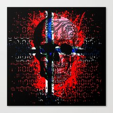 Skull circuit (norway-flag) Canvas Print