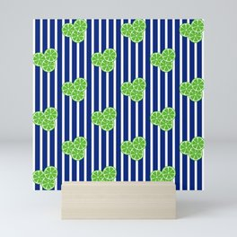 Lime Slices on Navy and White Stripes Mini Art Print
