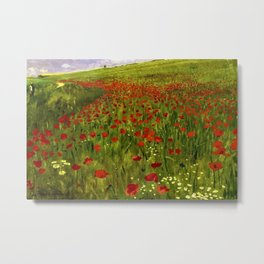 Red Poppy Fields Landscape Painting by Pal Szinyei-Merse Metal Print