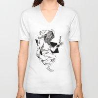 bison V-neck T-shirts featuring Bison by Hopler Art