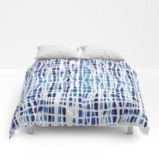 Shibori Braid Vivid Indigo Blue and White Comforters