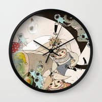 roald dahl Wall Clocks featuring Dream Catcher by Yoyo the Ricecorpse