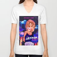 artrave V-neck T-shirts featuring Welcome to the artRAVE! by Helen Green
