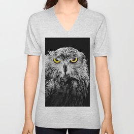 Owl photograph, black and white, with colored golden eyes Unisex V-Neck