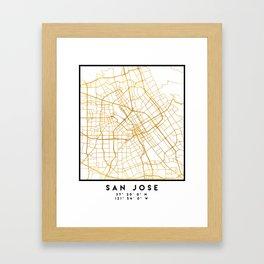 SAN JOSE CALIFORNIA CITY STREET MAP ART Framed Art Print