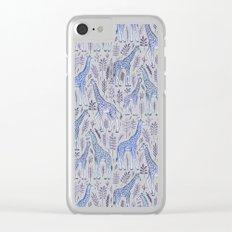 Blue Giraffe Pattern Clear iPhone Case