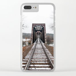 Snow Covered Train Trestle Clear iPhone Case