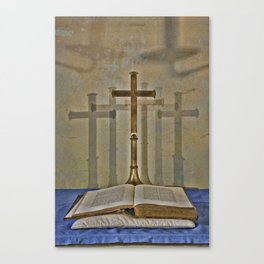 The Book And The Cross Canvas Print
