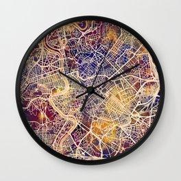 Rome Italy City Map Wall Clock