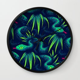 Mr Snake in the Rainforest - Green Wall Clock