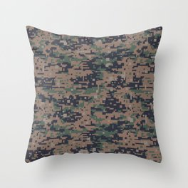 Marines Digital Camo Digicam Camouflage Military Uniform Pattern Throw Pillow