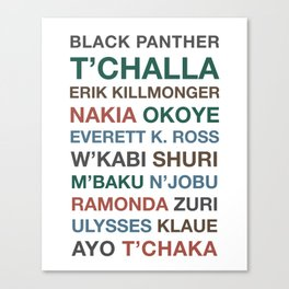 Black Panther Character Names Canvas Print