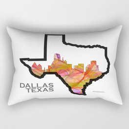 Texas State Map with Dallas Skyline Rectangular Pillow