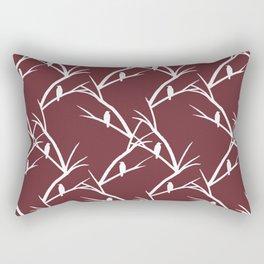 Bird Silhouette Red Pattern Rectangular Pillow