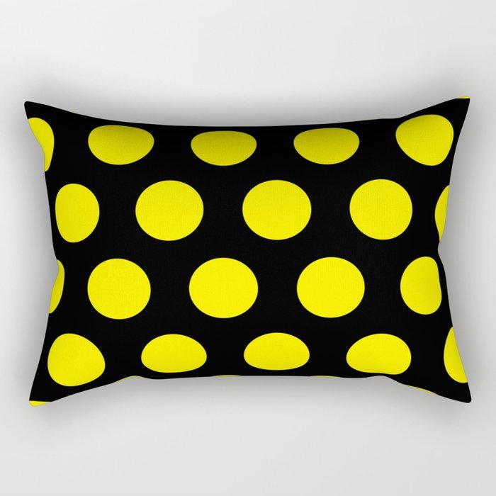 Yellow Circles on Black Background Rectangular Pillow