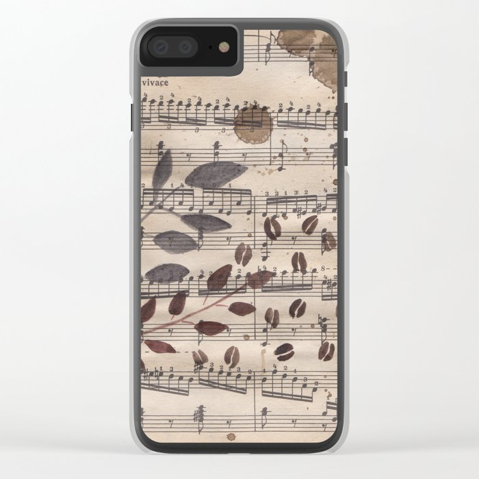 Old paper. Notes. Clear iPhone Case