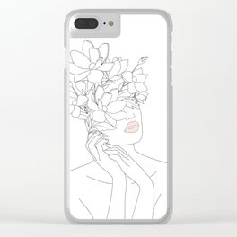 Minimal Line Art Woman with Magnolia Clear iPhone Case