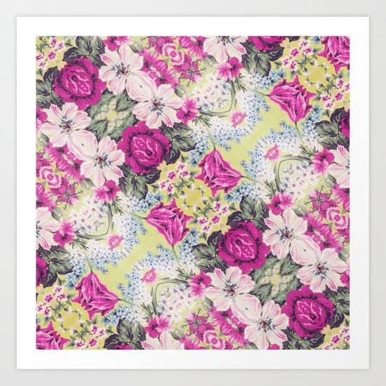 Trendy Vintage Purple Teal Floral Fashion Pattern Art Print