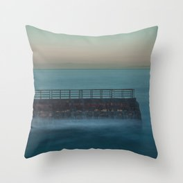 Seawall at Children's Pool Early in the Morning, La Jolla California Throw Pillow