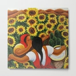 Classical Masterpiece Sunflowers 'Chismosas' by Diego Rivera Metal Print