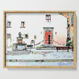 Barbarano Romano: square with fountain Serving Tray