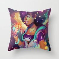 french fries Throw Pillows featuring Starry Eyes & French Fries by GDBEE