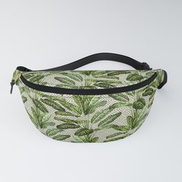 Palms on Square Shingles Pattern - Grey White Gold Fanny Pack