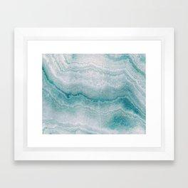 Sea green marble texture Framed Art Print
