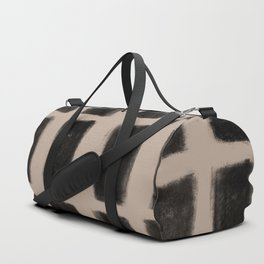 Brush Strokes Vertical Lines Black on Nude Duffle Bag