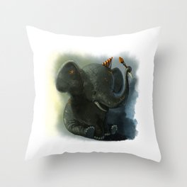 Painting Elephant Throw Pillow