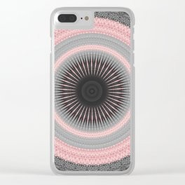 Metal Silver and Pink Mandala Abstract Clear iPhone Case